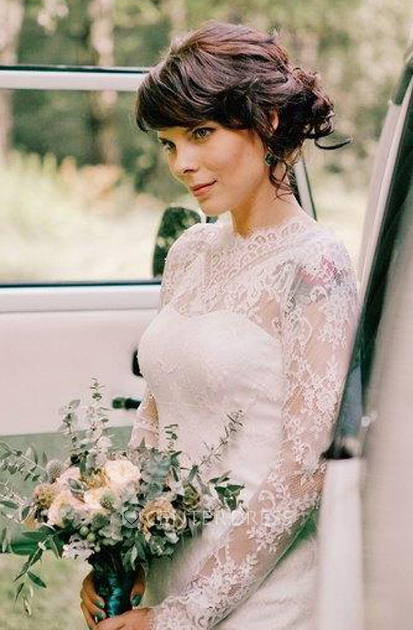High Neck Lace Long Sleeve Knee Length Wedding Dress