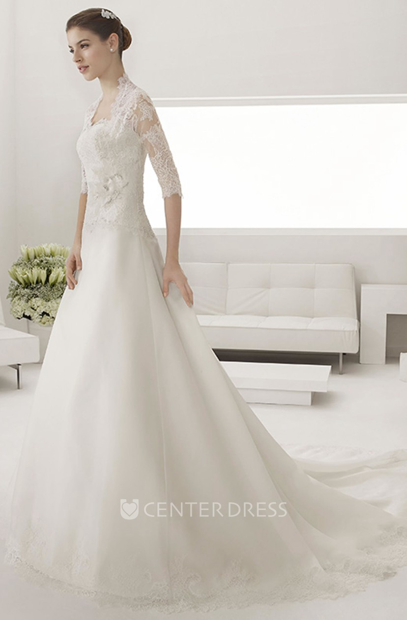 Sweetheart A Line Tulle Wedding Gown With Lace Top And Removable Jacket