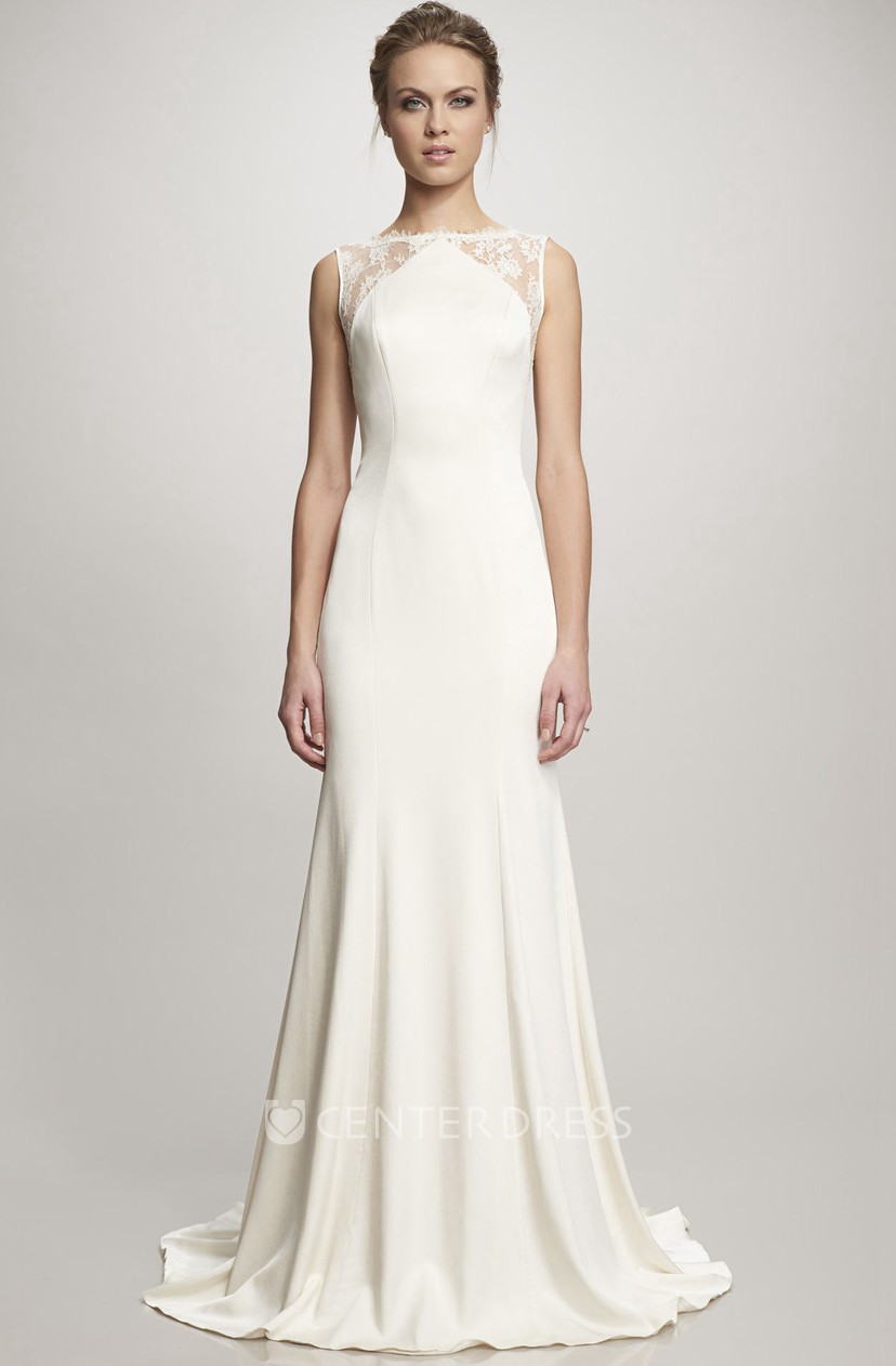 A Line Sleeveless Floor Length Lace Satin Wedding Dress With