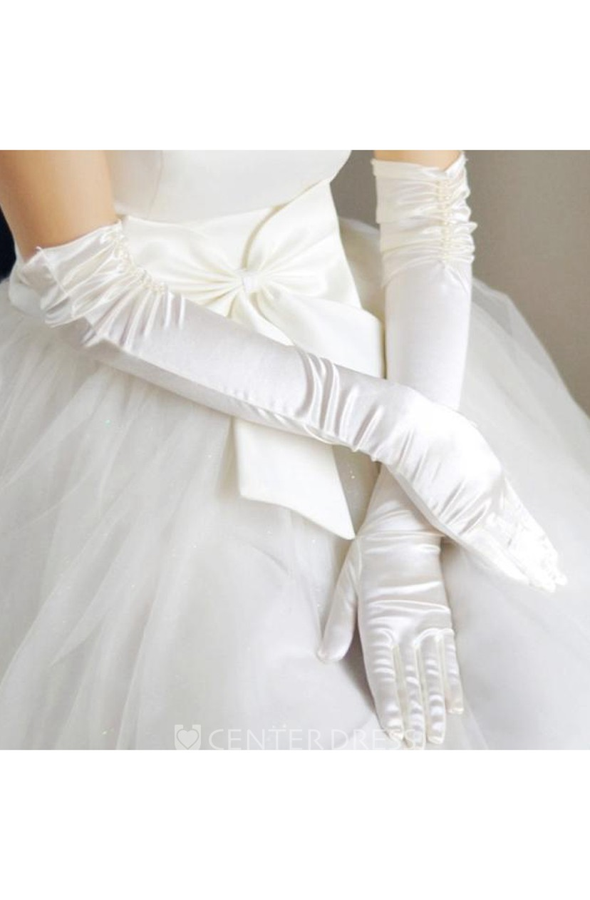 "15/"" WHITE ELBOW LENGTH STRETCH SATIN BRIDAL WEDDING PROM COSTUME OPERA GLOVES"