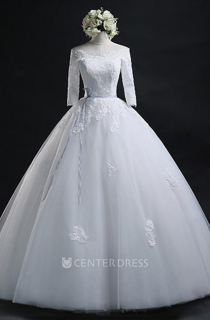ball gown off-the-shoulder lace tulle lace-up corset back wedding dress