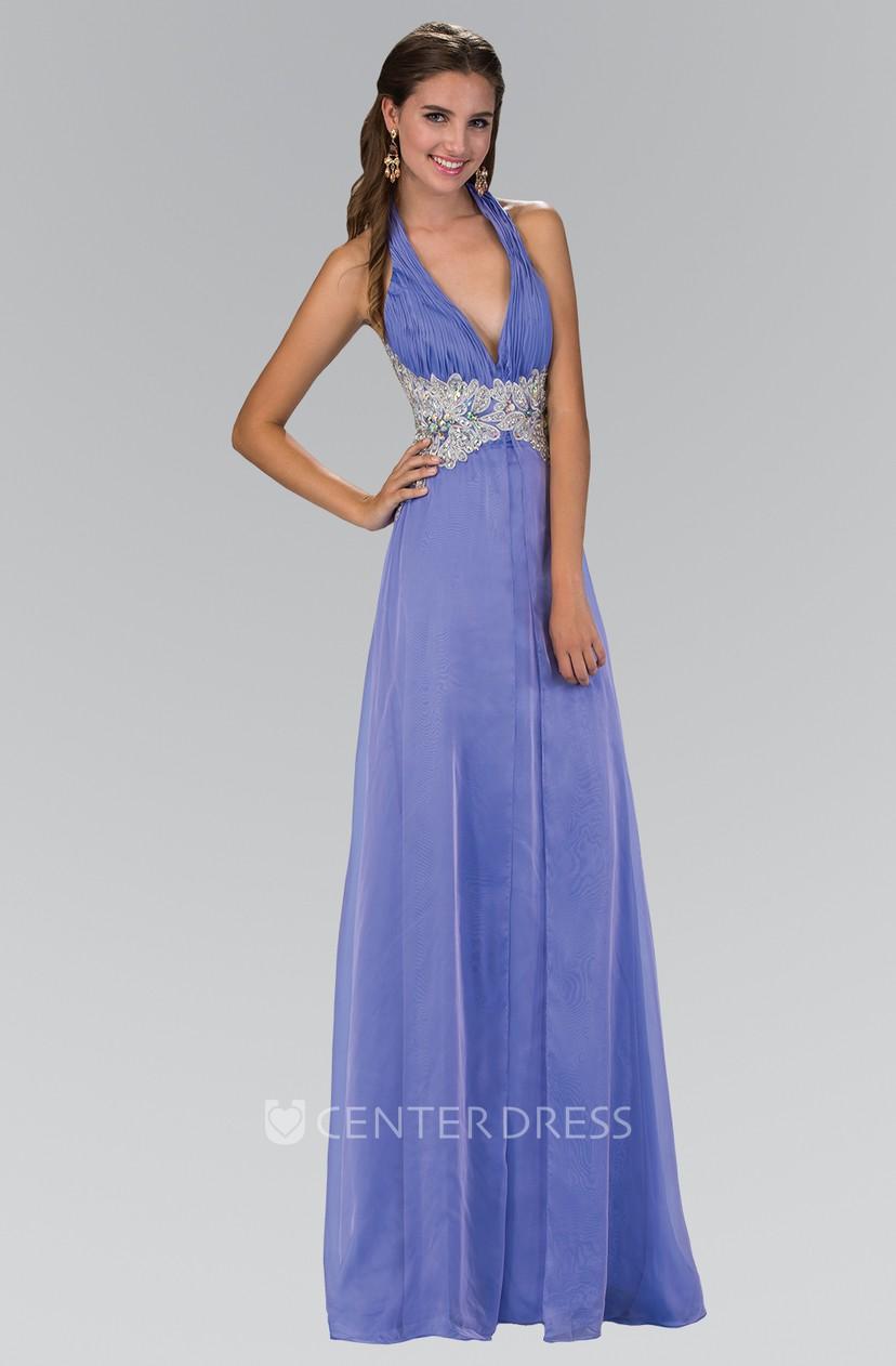 Sheath Halter Sleeveless Backless Dress