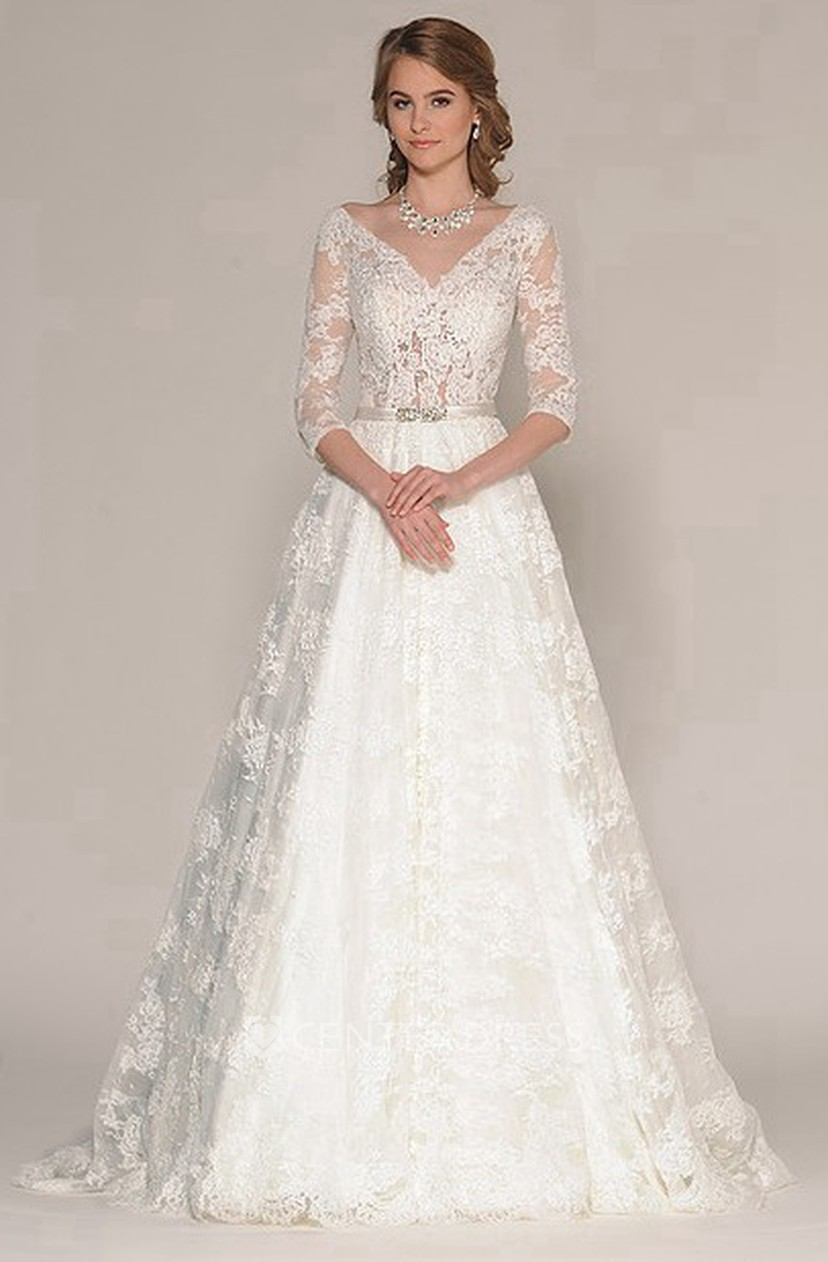 a-line 3-4-sleeve appliqued v-neck maxi lace wedding dress