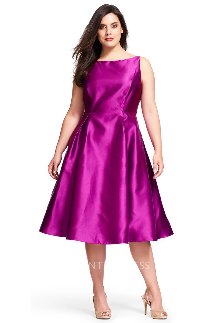 A-Line Midi Sleeveless Bateau-Neck Satin Plus Size Bridesmaid Dress