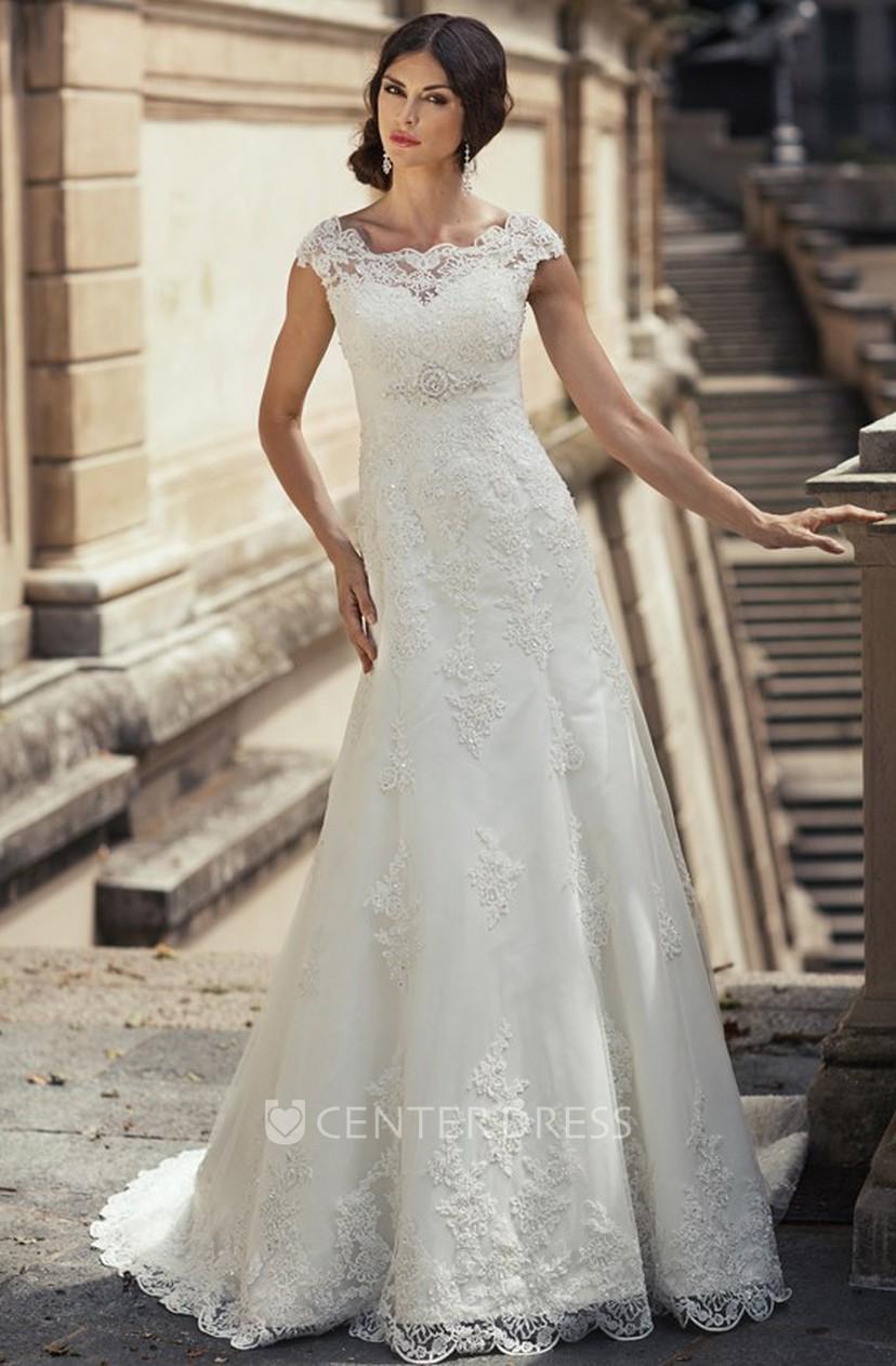 Sheath Cap Sleeve Long Appliqued Bateau Neck Lace Wedding Dress With Waist Jewellery