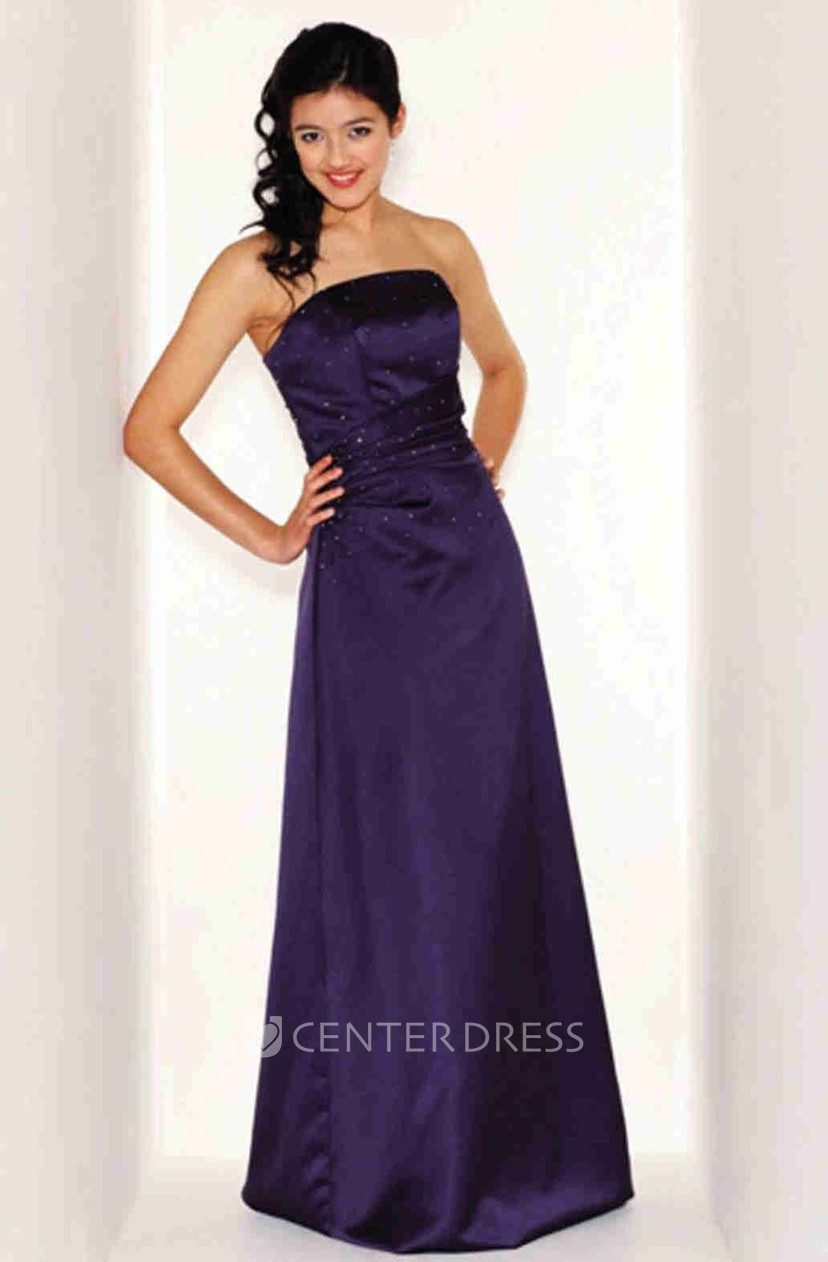 Beaded Strapless Satin Bridesmaid Dress With Ruching - UCenter Dress