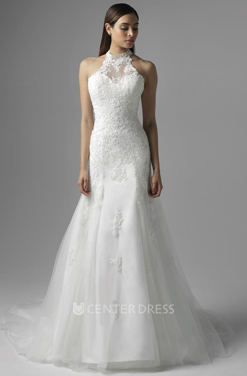A Line High Neck Floor Length Sleeveless Appliqued Lace Wedding