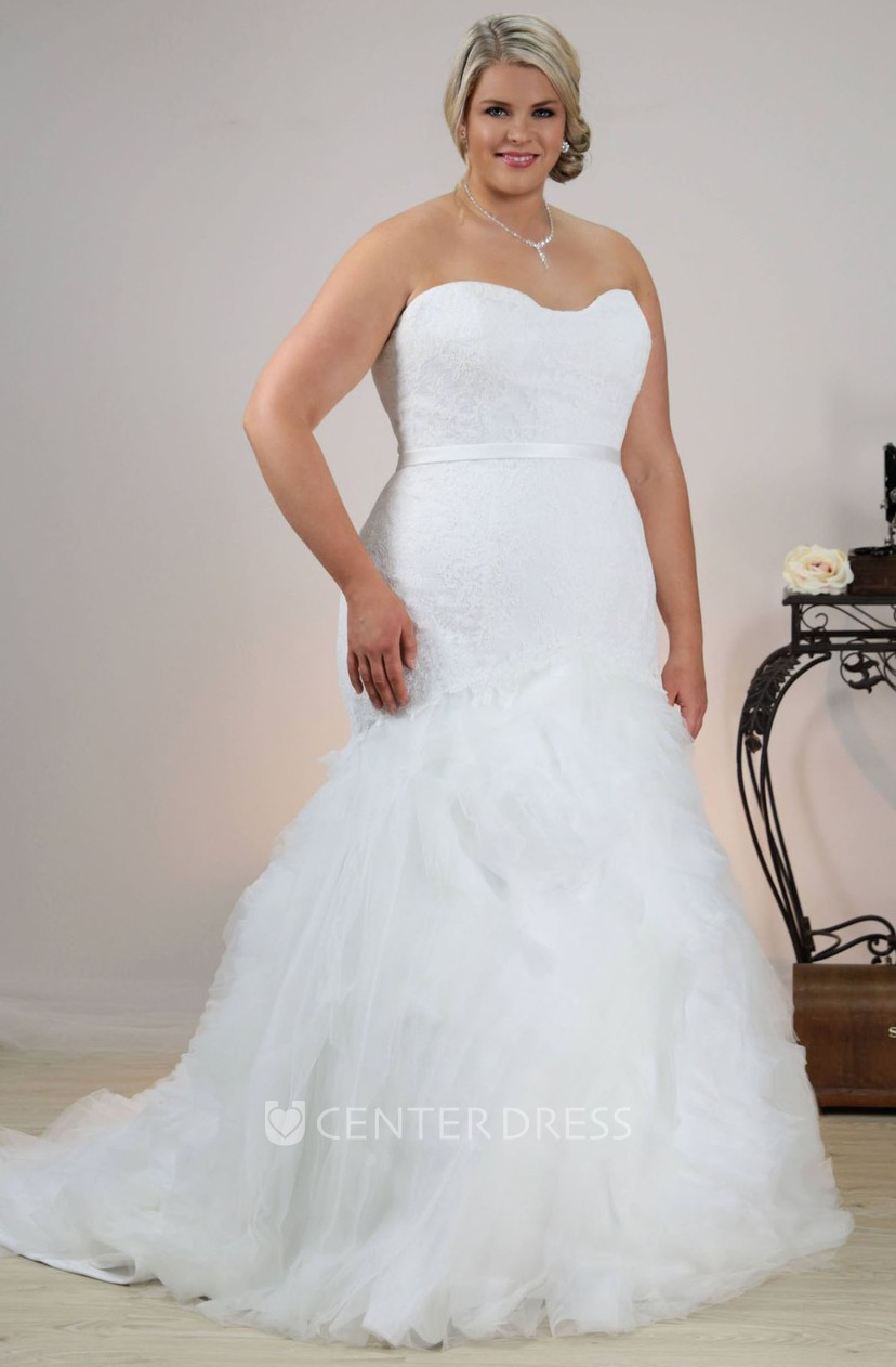 Trumpet Ruffled Long Strapless Tulle Plus Size Wedding Dress With Appliques  And Sash
