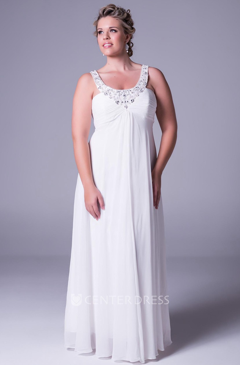 Strapped Ruched Sleeveless Chiffon Plus Size Wedding Dress With Beading And  Zipper