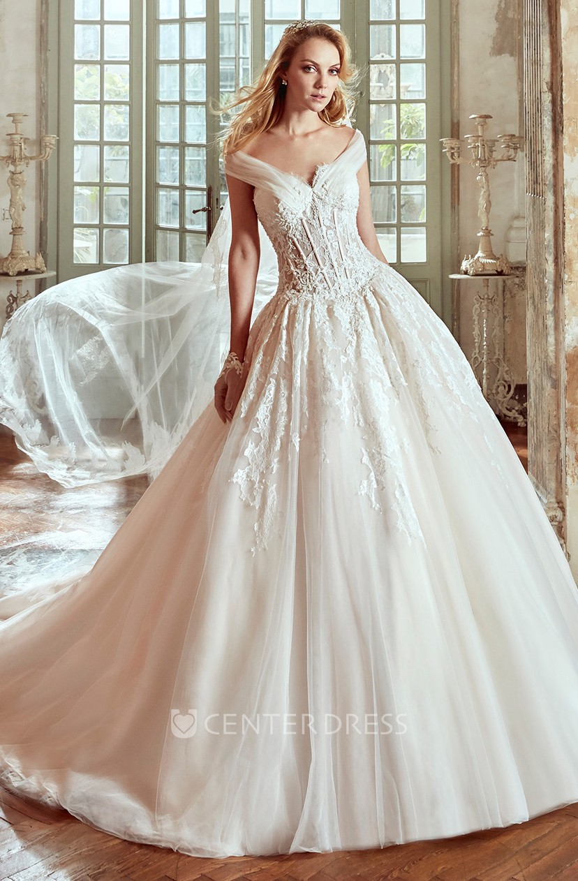 Princess Wedding Dress With Tulle Straps and Lace Corset - UCenter Dress
