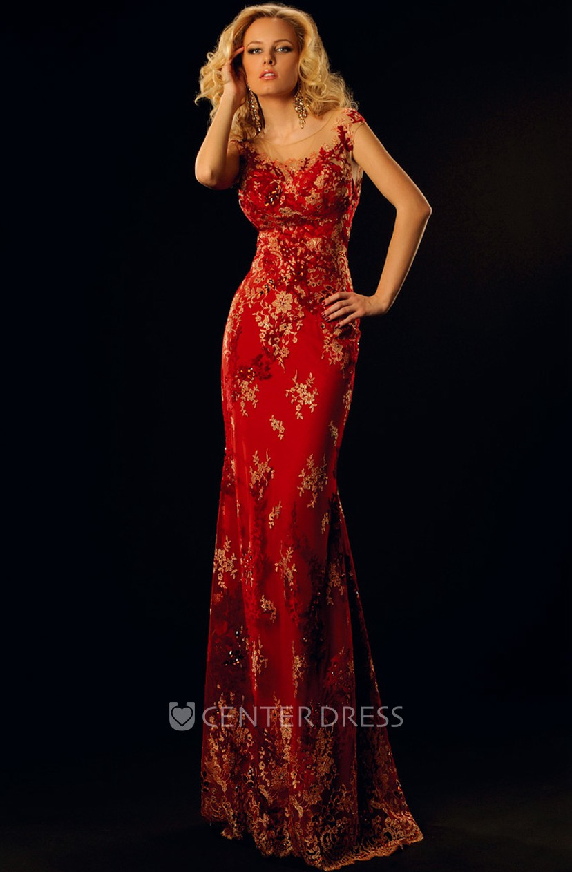Pencil Long Cap Sleeve Scoop Appliqued Lace Prom Dress With Low V Back And Brush Train