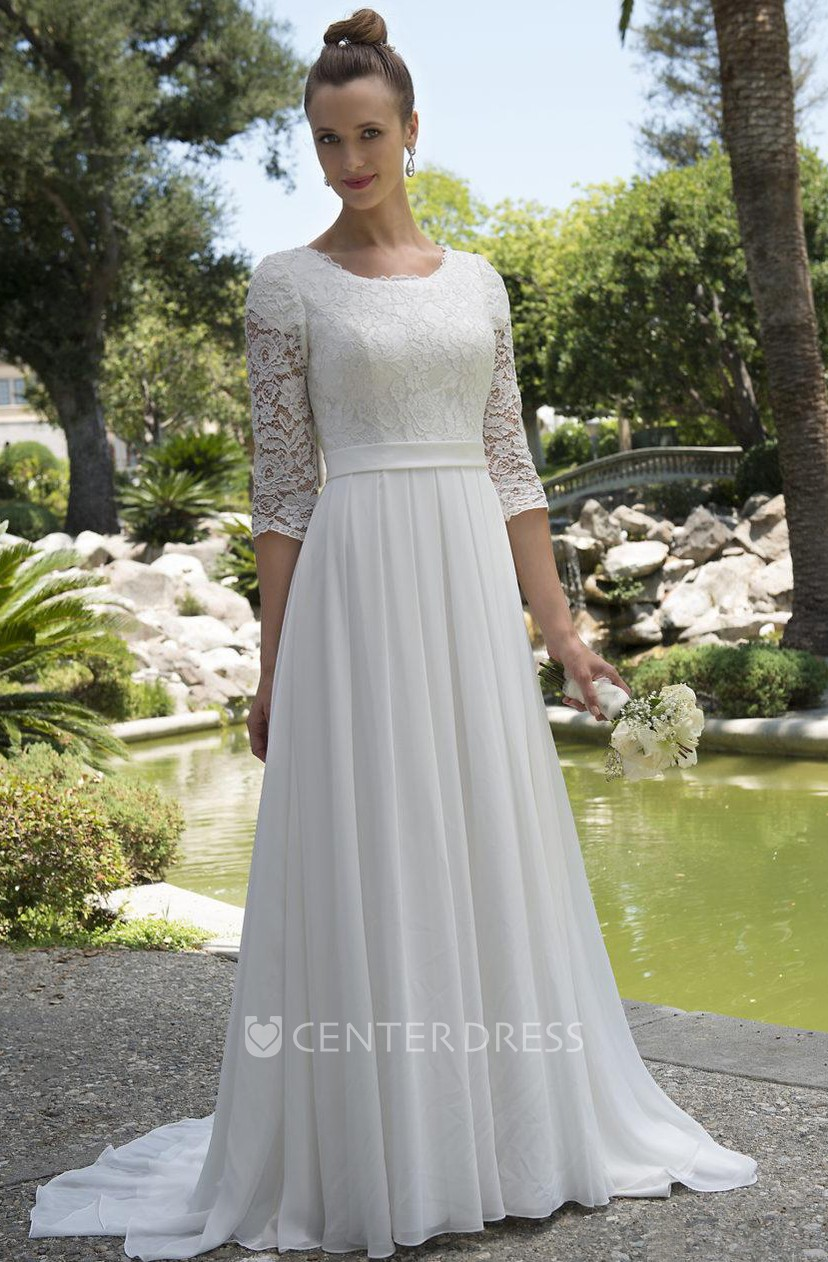 Informal Modest Beach Scoop Neck Lace Chiffon Wedding Dress With 3 4 Sleeves