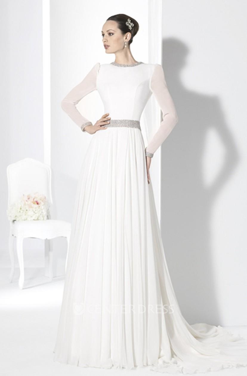 Long Sleeve Chiffon Wedding Dress