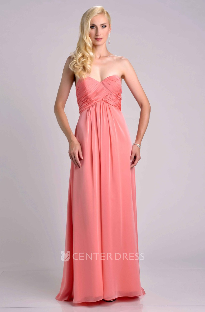 Empire A-Line Sweetheart Chiffon Bridesmaid Dress Featuring Ruched ...