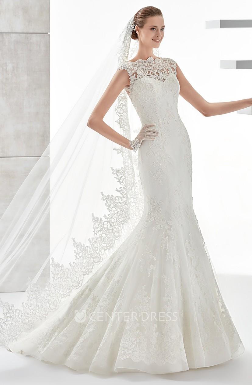 Scalloped Neck Mermaid Sheath Lace Wedding Dress With Illusive Design And Brush Train