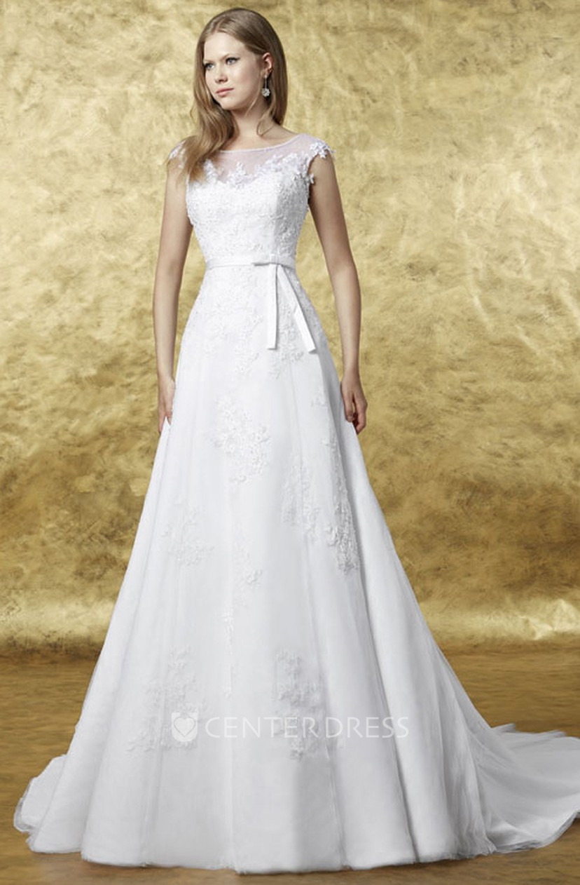 Bateau Maxi Cap Sleeve Appliqued Lace Wedding Dress With Court Train And Corset Back