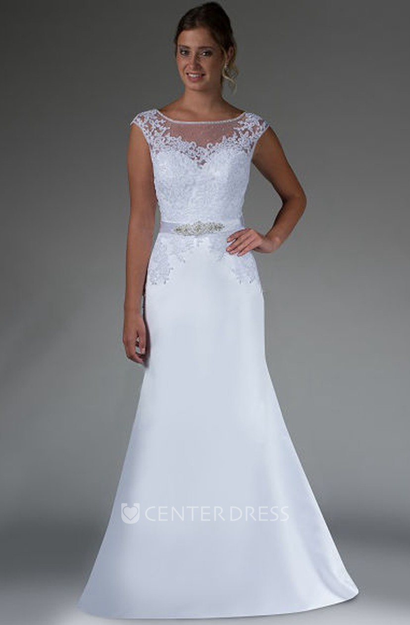 Beading Sash Sheath Satin Bridal Gown With Removable Lace Cap Sleeve Top