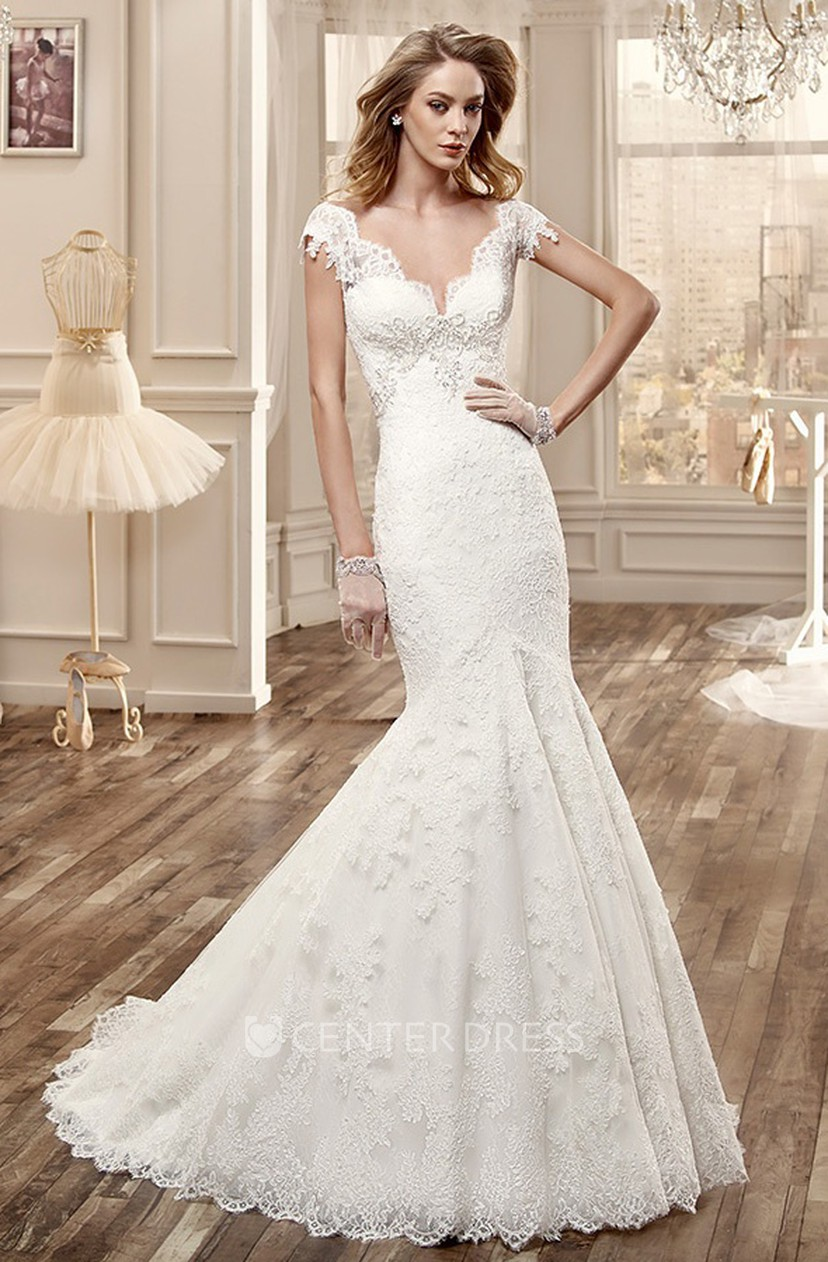 Deep V Neck Lace Wedding Dress With