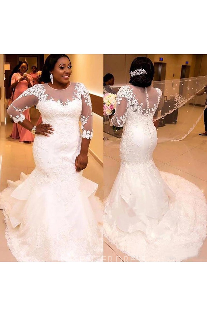 Sheer 3-4 Long Sleeves Plus Size Mermaid Wedding Dress