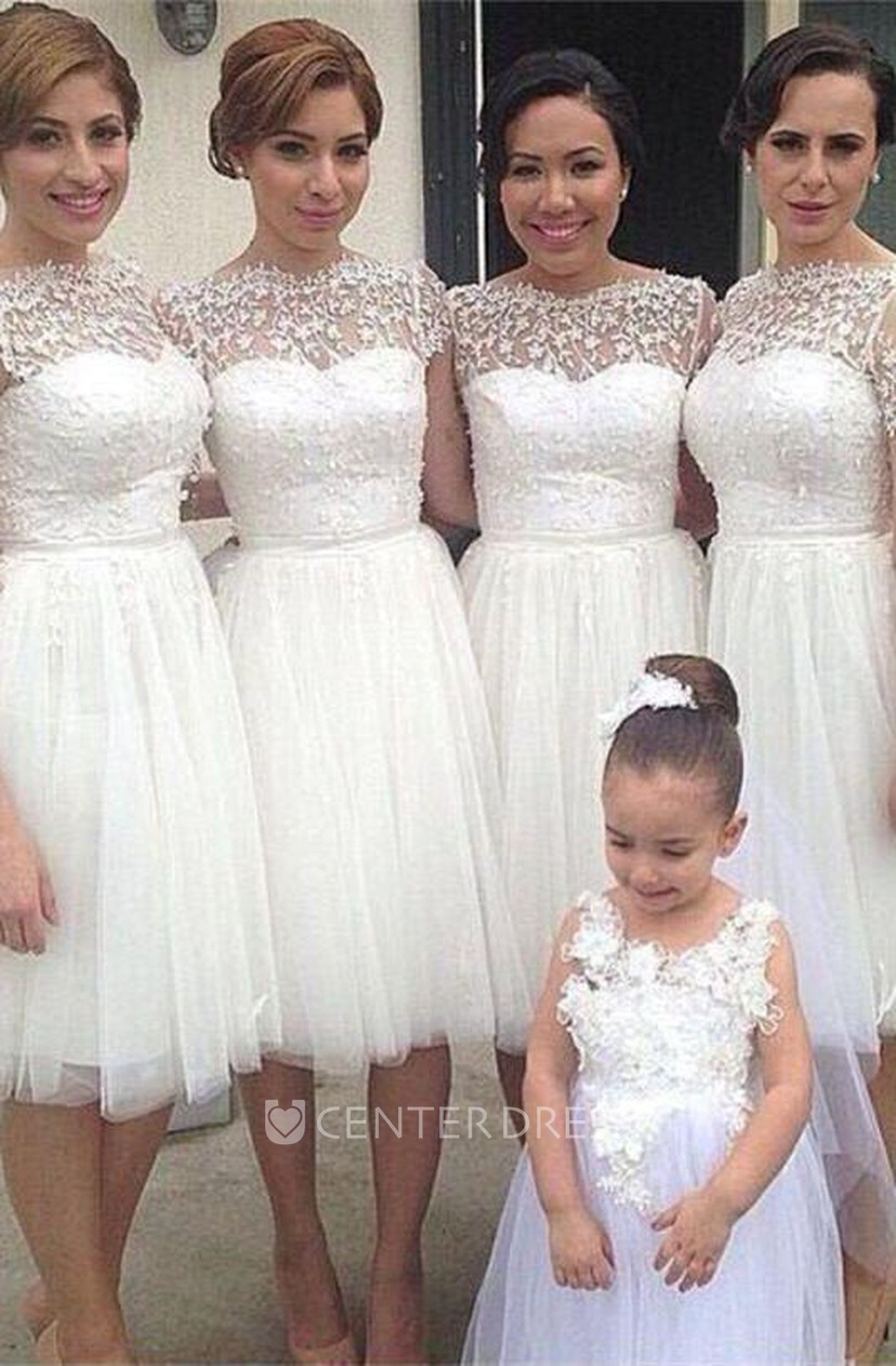 White Tulle Lace Bridesmaid