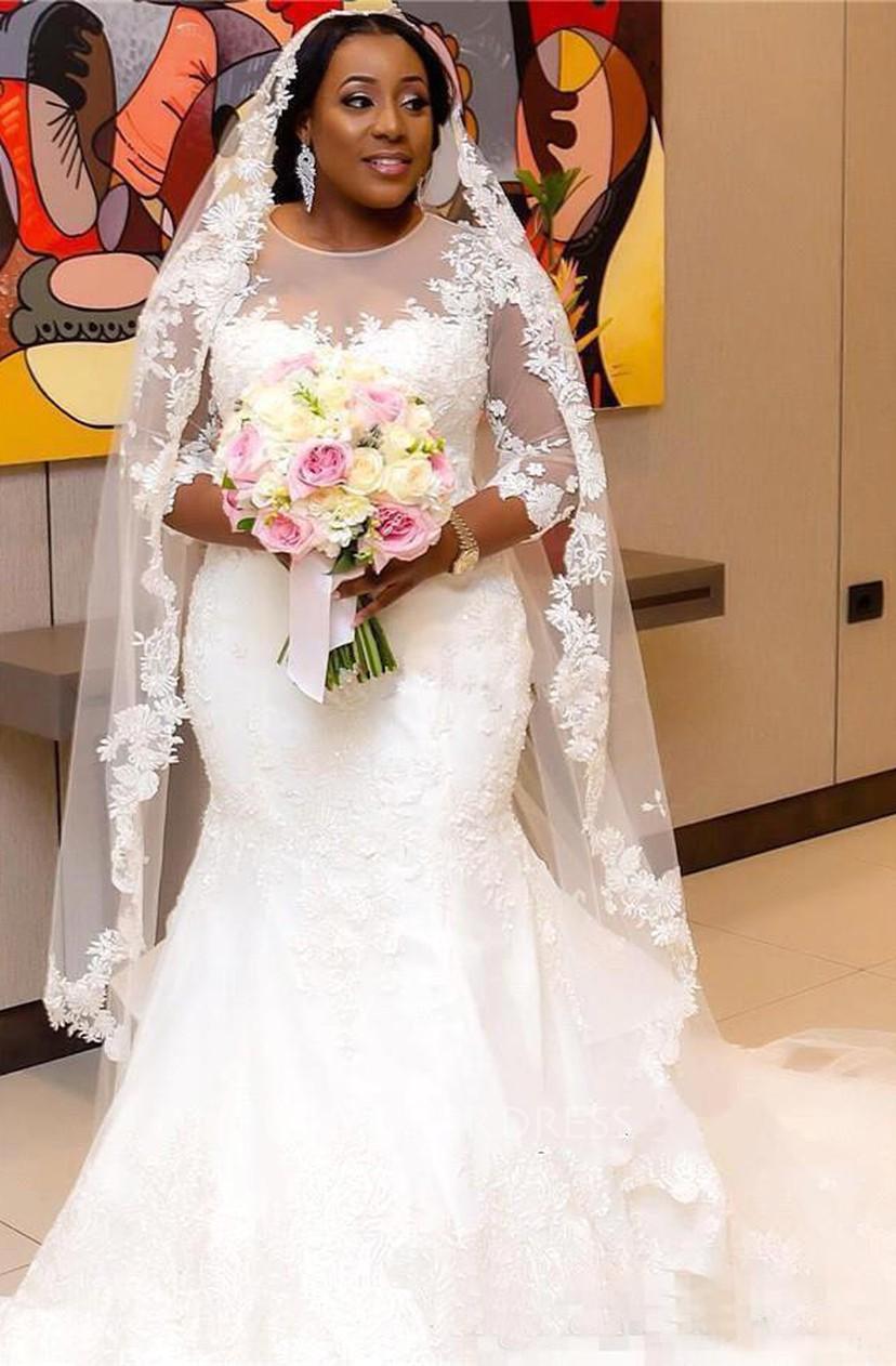 Sheer 3 4 Long Sleeves Plus Size Mermaid Wedding Dress