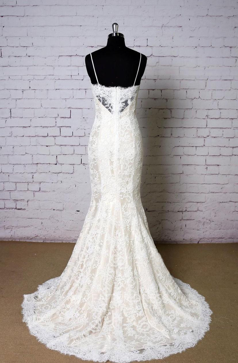 Spaghetti Strap Lace Mermaid Wedding Dress With Champagne Underlay