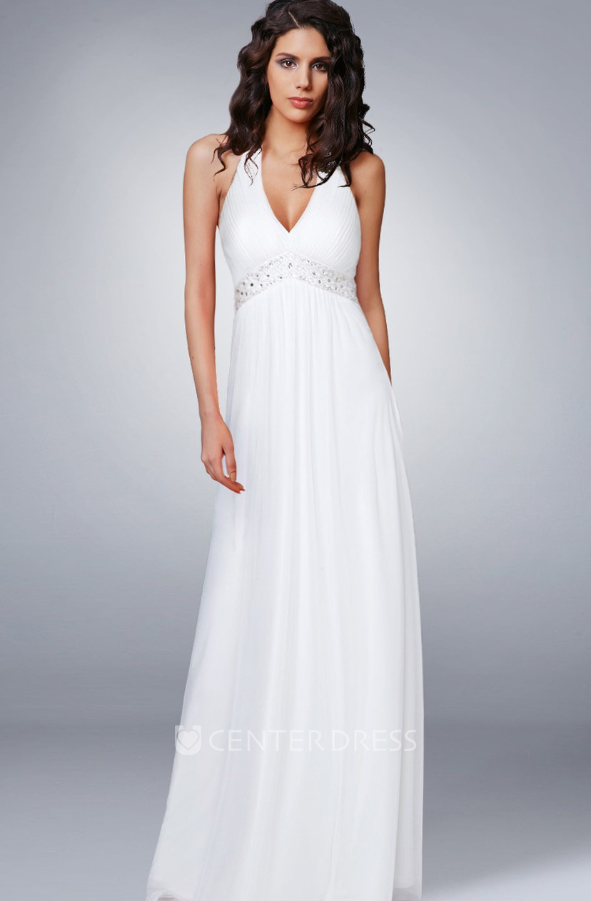 Simple Summer Beach Halter V Neck Empire Chiffon Wedding Dress With Beading