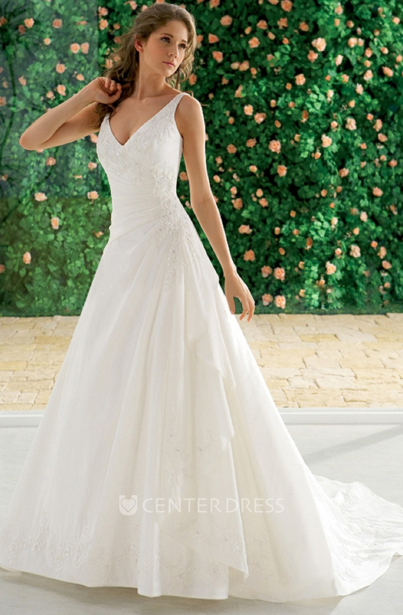 Sleeveless V Neck A Line Wedding Dress With Ruffles