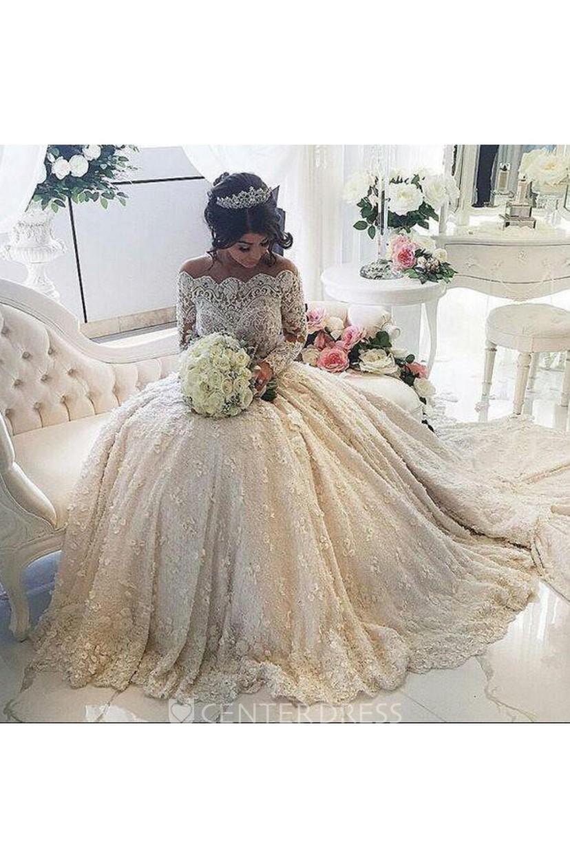 Beautiful Lace Long Sleeve Princess Wedding Dresses 2018 Ball Gown