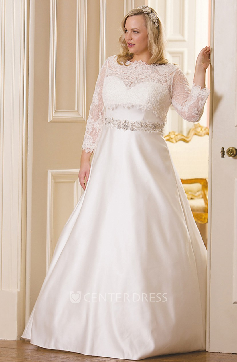 Ball Gown Long Long-Sleeve Bateau-Neck Jeweled Satin Plus Size Wedding  Dress With Appliques And Illusion